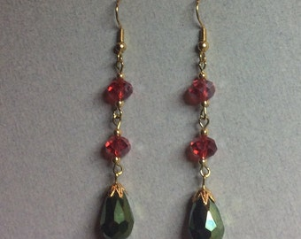 Red, Green & Gold Drop Earrings Gorgeous Sparkly Iridescent