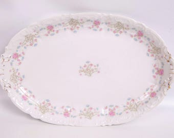 Vintage Weimar Germany Platter Pink Blue Flowers Embossed Scrolls Gold Trim Oblong Porcelain Tray Hand Painted Florall