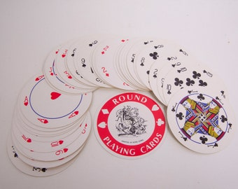 Vintage Round Playing Cards Jamaica Souvenir Full Set Circular Deck of Cards Jamaican Coat of Arms Bar ware Coasters Scrap booking