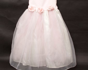 ba8bd4d1cd9 Vintage Satin Organza Tulle Pink Dress Silk Roses Sara Lene Party Boutique  Gown Toddlers Dress Size 3T or 4T Flower Girl First Communion