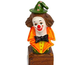Vintage LEGO Clown Music Box Send in the Clowns Made in Japan Ceramic Pierrot Hand Painted Circus Decor Kids Room