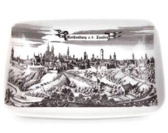 Vintage German Porcelain Vanity Dish Rothenburg ob Tauber Souvenir Porzellan Manufaktur Lorenz Bavaria Trinket Holder Rectangular Pin Tray