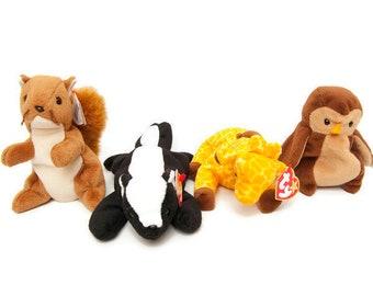 3b03964076b Vintage TY Beanie Babies Set of 4 Nuts Squirrel Stinky Skunk Twigs Giraffe  Hoot Owl Stuffed Animals Original Tags