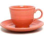 GENUINE FIESTA Tangerine Cup and Saucer Homer Laughlin Genuine Fiestaware Orange Teacup Coffee Cup Retired Color
