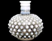 Vintage FENTON Glass Perfume Bottle White Hobnail Opalescent Glass Blue and White Bud Vase Cologne Bottle