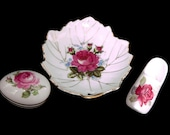 Vintage LIMOGES France Trinket Box JAPAN Leaf Dish SANFORD England Dutch Shoe Gold Trim Ring Dish Lot of 3 Pink Roses White Porcelain