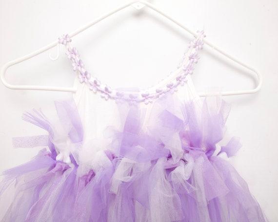 Vintage Tulle Tutu Dress Purple Glitter Little Gi… - image 5
