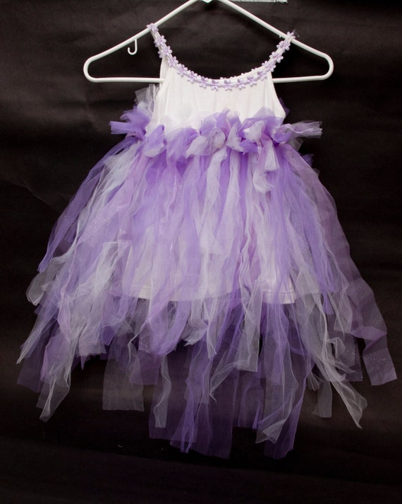 Vintage Tulle Tutu Dress Purple Glitter Little Gi… - image 2