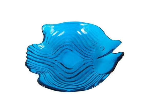 Fantastic Vintage Fish Shaped Glass Bowl Blue Serving Dish Art Glass Large Platter Textured Sculptured Centerpiece Interior Design Ideas Philsoteloinfo