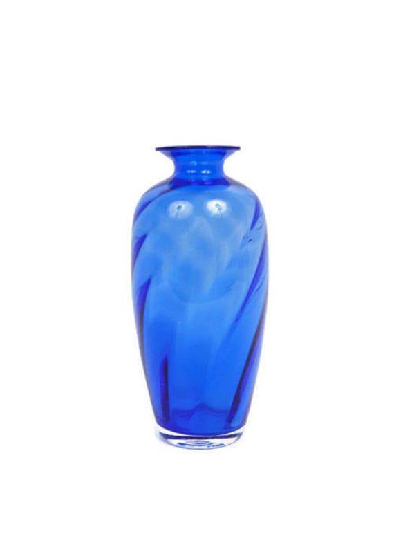 6014f514aef Vintage Cobalt Blue Glass Vase Bristol Glass Urn Ribbed Glass