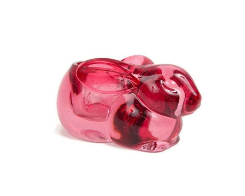 2 Easter Cranberry Bunny Rabbit Indiana Glass Votive Candleholder NEW