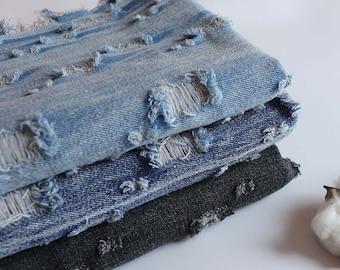 Perforated Hollow Denim Cotton Fabric, Washed Denim, blue denim, Heavy Weight, diy,Sewing Half yard / Meter (QT1603)
