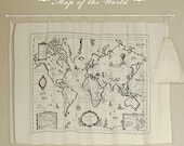 Cotton Linen World Map Fabric for craft, Vintage Color, Map Of  The World, Earth,Ocean,Continent,diy,fabric (C160)