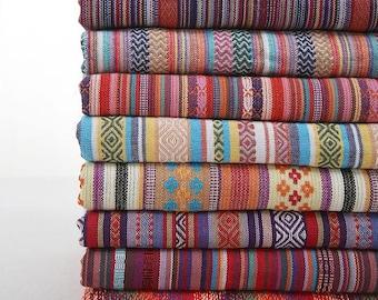 Colorful Stripe Cotton Fabric Fabric BOHO Bohemian national Style Garment Bag Chair Cushion Fabric- Half Yard / Meter (QT451-A)