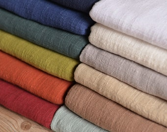 Solid Linen Yarn Fabric, Bamboo Texture Pure Color Flax Linen Spring Summer Clothing Fabric,Cotton Linen Fabric--Half Yard / Meter QT896A