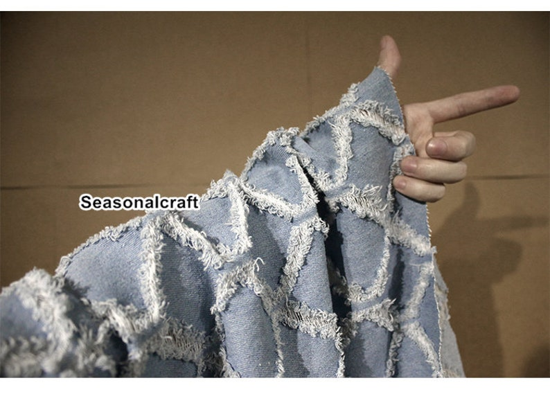 Weight Washed Denim diy,Sewing Half yard  Meter Hollow out Gingham 3D Texture Denim Cotton Fabric QT1723 blue denim