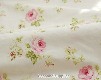 Large Rose Cotton Fabric Pink Rose Dots on Off White Background Shabby Chic Fabric Large Flower Cotton- Half Yard / Meter (QT234)