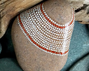 cinnamon and pearls / painted rocks / painted stones / paperweights / gifts for him / desk top art / rock art / dots on stone / sea stones