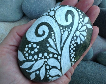 Reach / White Zen series / Painted Rock / Sandi Pike Foundas / beach stone from Cape Cod