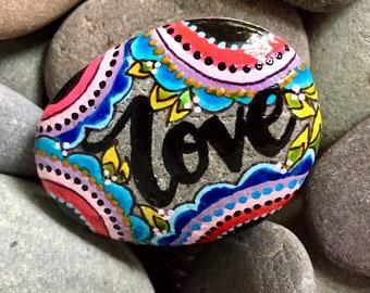 love is always the answer / painted rocks/painted stones/word rocks/word stones/altar art/totems/talismans/rock art/hippie art/boho art/rock