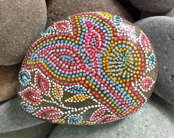 tree hugger / painted stones/painted rocks/boho art/hippie art/altar art/dotted rocks/terrarium items/deskart/cape cod artists/sea stones