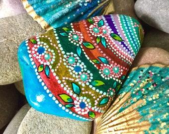 growing flowers on Saturn /boho art/hippie art/painted rocks/painted stones/altar items/art rocks/desk art/cape cod/art stones/tiny painting