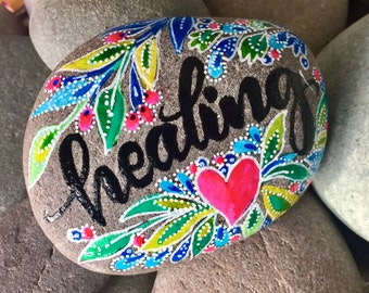 healing / painted rocks/painted stones/get well/word rocks/word stones/encouragement/desk art/altar art/word for the year/small art/stones