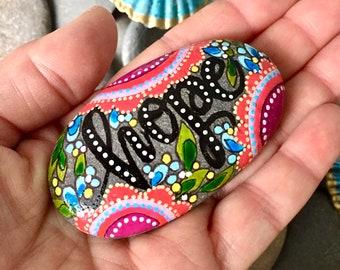 holding on to hope / hope/painted stones/painted rocks/get well/altar art/hippie art/boho art/rock art/word rocks/word stones/cape cod