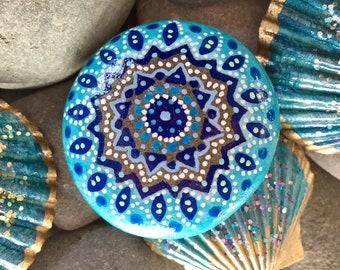 sea urchin mandala/ blue mandala/painted rocks/painted stones/mandala rocks/hippie art/boho art/sea stones/cape cod/altar art/mandalas/rock