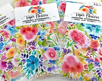 24 hand-cut watercolor floral stickers / paper flower stickers / peel and stick flowers /watercolor flowers stickers/ stationery accessories