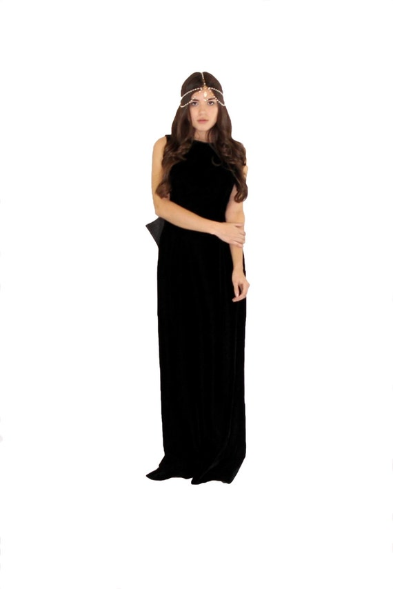 Velvet Chiffon Bow Maxi Evening Gown 8