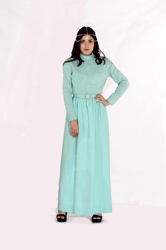 Vintage Aqua Blue Long Sleeve Maxi Dress