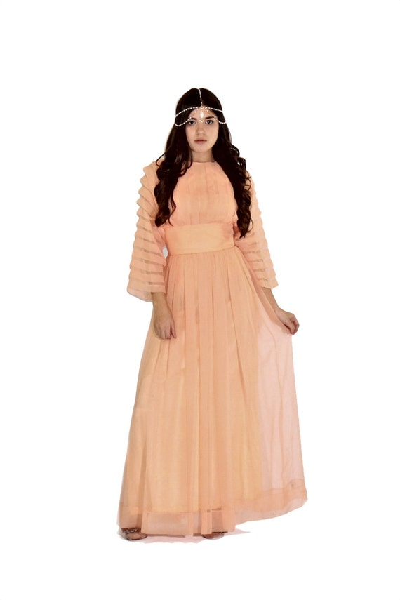 Peach Chiffon Bohemian Maxi Dress XS S