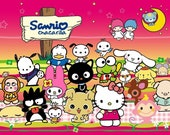 Sanrio Lover Printed Fabric 6x9 Squares for Sewing Masks customizable USA Made POLYESTER breathable fabric (Sanrio)