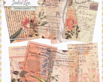 8 Shabby Florals Vintage Style Botanical Collaged ATC Card Backgrounds