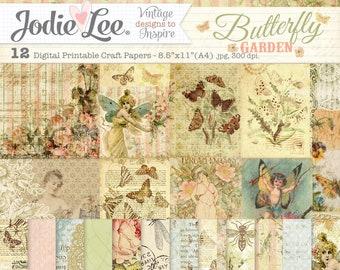 Butterfly Garden A4 Digital Printable Scrapbook Papers by Jodie Lee - Instant Download!