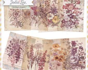 8 Shabby Florals Vintage Style Botanical Collaged ATC Card Backgrounds by Jodie Lee