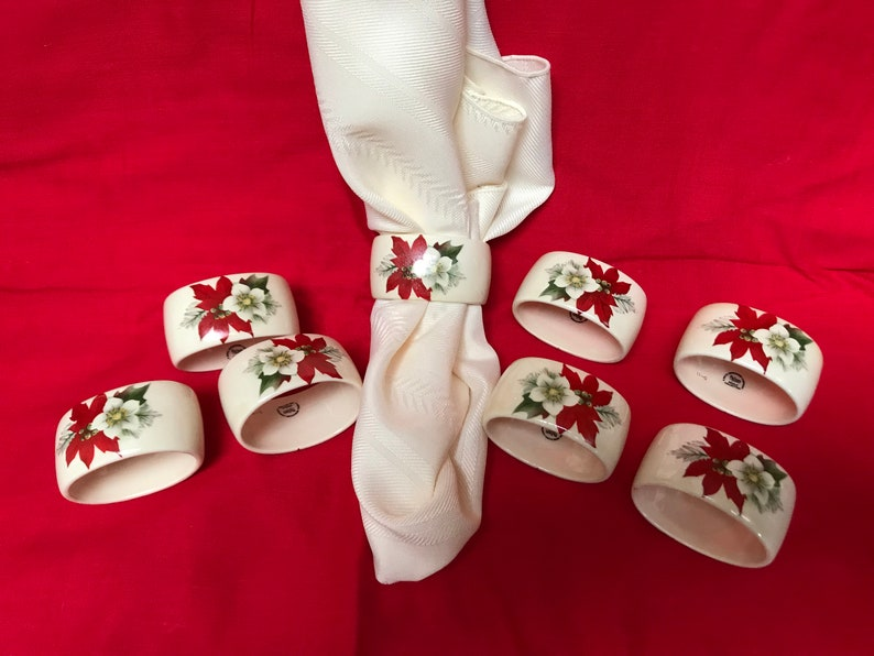 Set Of 8 Palissy Royal Worcester Spode Holiday Napkin Rings