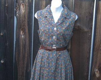 Vintage 60s Dress  Saybury Red White Glen Plaid Candy Pin Striped Deco Buttons Atomic Housewife Shirtdress