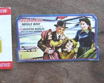 Lotta Cola Advertising Sewing Needles + Reliance Needle Book w/ Midcentury Plane/Family; U.S. Shipping Included