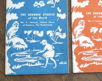 Set of 4 Vintage Brownie Story Books: Brownie Stories of the World; Rare Midcentury Collections w/ Vintage Brownie Scout Photos