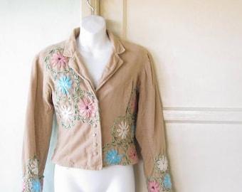Pink/Blue Daisy Embroidered Tan Velveteen Jacket; Women's Small Bohemian Blazer/Artsy Jacket