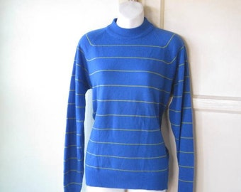 Dark Turquoise Mock Turtleneck w/ Chartreuse Stripes; Women's Medium Knit Long-Sleeve Striped Top; U.S. Shipping Included
