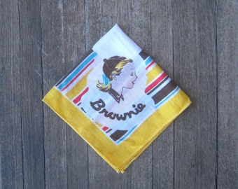 Red/Yellow/Blue Stripe Vintage Brownie Scout Hankie~1950s Brownie Handkerchief w/ Beanie Girl; U.S. Shipping Included