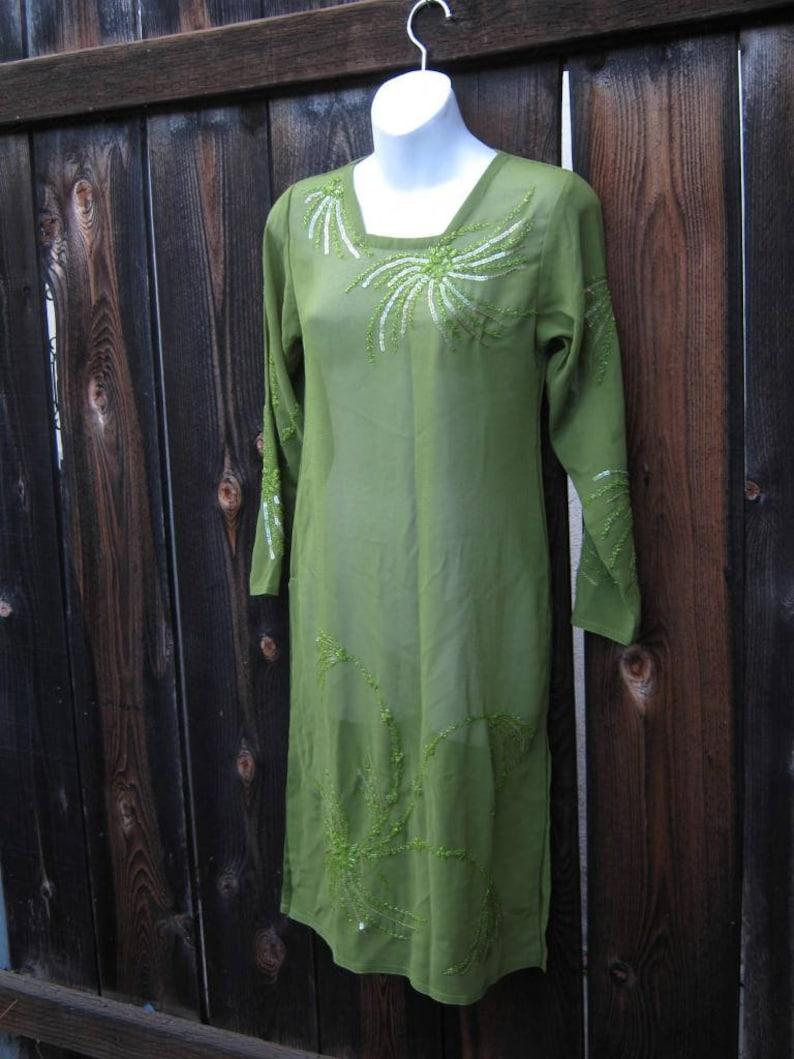 Sequin-Embellished Long Kurta-Style Top w Side Slits; Women/'s XS-Small Sheer Green BohoAsian Maxi Tunic