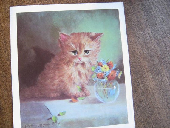Kitsch Cat Print; Long-Haired Tiger Kitten Playing w/ Flowers, by Margaret McDonald Phillips; '60s Vintage Wall Decor