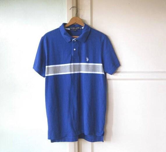 Royal bleu Polo Shirt w / rayure grise; Petit-moyen US Polo Association manches courtes Polo homme; US frais de port inclus