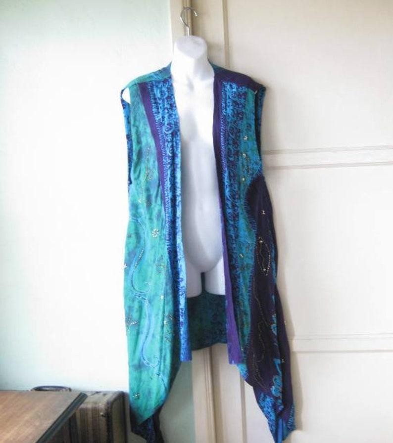 Bead-Embellished GreenTurquoisePurple Batik Print Open Tunic; Women/'s Large BohemianFestivalEvent Wrap