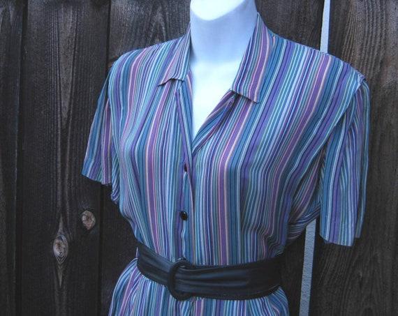 1940s-'50s Day Dress; Purple/Green/Blue Stripe w/