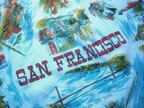 Vintage San Francisco Scarf: Choose Colorful Landm
